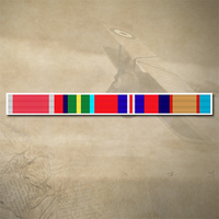 BEM, PACIFIC STAR, WAR MEDAL AND 39-45 ASM RIBBON BAR DECAL STICKER [Size: 130mm x 12mm (White Border)]