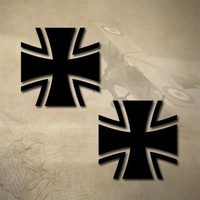 2 x GERMAN IRON CROSS STICKERS / DECALS 50mm x 50mm | MALTESE | ARMY | MILITARY