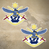 2 x ADF TRI SERVICE EMBLEM DECALS | STICKERS | 51mm x 46mm | 7yr WTR + UV PRF |
