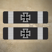 2 x 1914 GERMAN IRON CROSS STICKERS / DECAL 60mm x 15mm  |  7YR UV + WATER RATED