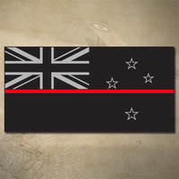 NEW ZEALAND THIN RED LINE FLAG DECAL | STICKER | 100mm x 50mm | FIREFIGHTER