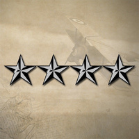 "USMC / ARMY / AIR FORCE 4 STAR GENERAL INSIGNIA DECAL STICKER | 4.4"" x 1"" 