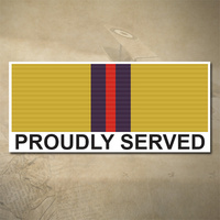 AUSTRALIAN IRAQ MEDAL DECAL - PROUDLY SERVED | 150MM X 65MM | AUSSIE | PRIDE | MILITARY