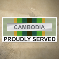 AUSTRALIAN ASM 1975+ (CAMBODIA) MEDAL DECAL - PROUDLY SERVED | 150MM X 65MM | AUSSIE | PRIDE | MILITARY
