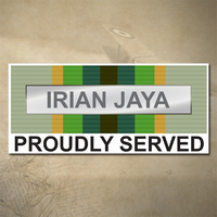 AUSTRALIAN ASM 1975+ (IRIAN JAYA) MEDAL DECAL - PROUDLY SERVED | 150MM X 65MM | AUSSIE | PRIDE | MILITARY