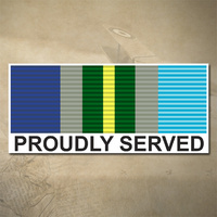 AUSTRALIAN ASM 1945 - 1975 MEDAL DECAL - PROUDLY SERVED | 150MM X 65MM | AUSSIE | PRIDE | MILITARY