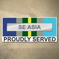 AUSTRALIAN ASM 1945 - 1975 (SE ASIA) MEDAL DECAL - PROUDLY SERVED | 150MM X 65MM | AUSSIE | PRIDE | MILITARY