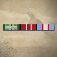 AUSTRALIAN ACTIVE SERVICE MEDAL, ADM + UN EAST TIMOR MEDAL RIBBON BAR STICKER / DECAL | WATER & UV PROOF
