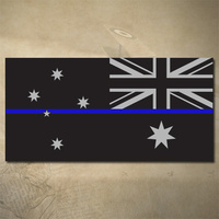 AUSTRALIAN THIN BLUE LINE FLAG DECAL - REVERSE | STICKER | 100mm x 50mm | POLICE | EMS