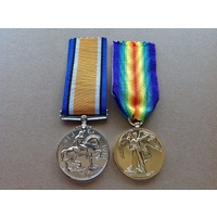 WWI MEDAL PAIR BRITISH WAR AND VICTORY MEDALS | ANZAC | WORLD WAR I | ALLIED BWM