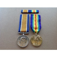 WWI MEDAL PAIR BRITISH WAR AND VICTORY MEDALS + BAR | ANZAC | WORLD WAR I