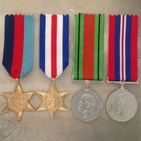 WWII MEDAL SET -1939-45 STAR, FRANCE & GER  STAR, 1939-45 DEFENCE + WAR MEDAL
