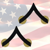 U.S.M.C PRIVATE FIRST CLASS CHEVRONS | PAIR | SUBDUED BLACK | COMBAT | MARINES