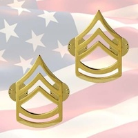 U.S. ARMY SERGEANT 1ST CLASS CHEVRONS | PAIR | 22K GOLD PLATED | GENUINE ISSUE