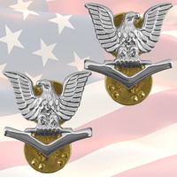 U.S. NAVY - PETTY OFFICER THIRD CLASS COLLAR BADGES | PAIR |  GENUINE | E4 | OR4