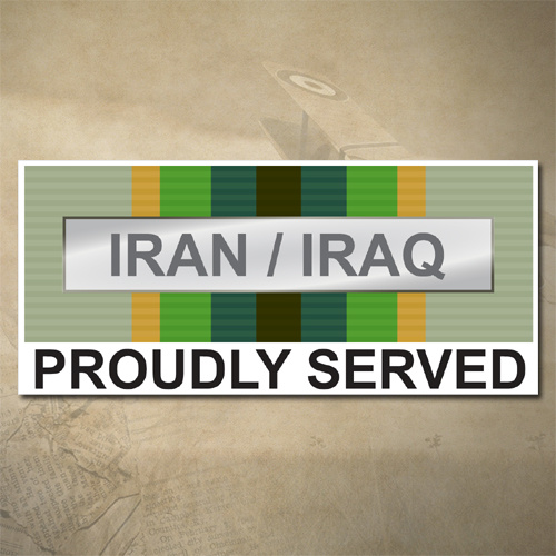 AUSTRALIAN ASM 1975+ (IRAN / IRAQ) MEDAL DECAL - PROUDLY SERVED | 150MM X 65MM | AUSSIE | PRIDE | MILITARY
