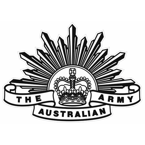 AUSTRALIAN ARMY RISING SUN BADGE 7TH PATTERN DECAL 100MM X 72MM | AUTHORISED | BLACK LINE VERSION - WHITE BACKGROUND |  STICKER | INDOOR / OUTDOOR