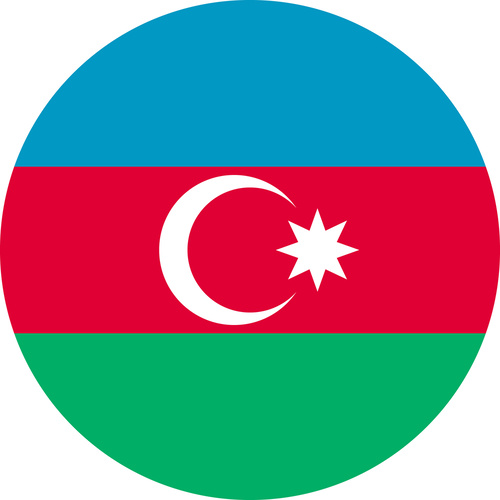 AZERBAIJAN COUNTRY FLAG | STICKER | DECAL | MULTIPLE STYLES TO CHOOSE FROM [Size: Circle - 75mm Diameter]